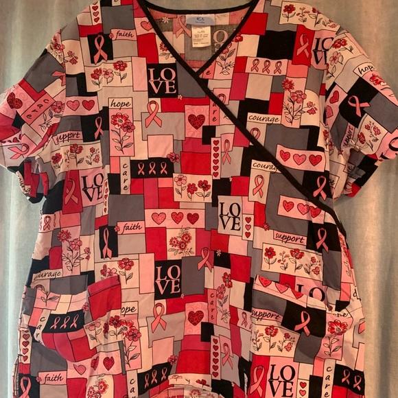 Awesome SB Scrubs Breast Cancer Love ❤️ Oct Sz XL
